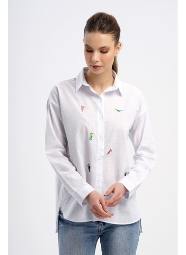 Nismia Kuş Nakışlı Pamuklu Basic Gömlek Beyaz